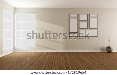 Minimalist living room with windows, without furniture - rendering - stock photo