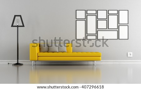 Minimalist living room with yellow couch and blank frame - 3d rendering - stock photo