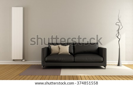 Minimalist lounge with black couch and vertical heater - 3D Rendering - stock photo