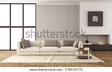Minimalist lounge with fireplace and elegant sofa- 3D Rendering - stock photo