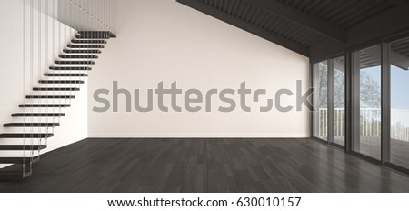 Minimalist mezzanine loft, empty industrial space, metal roofing and parquet floor, scandinavian classic white and gray interior design with garden panorama, 3d illustration
