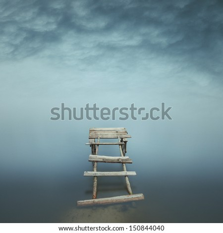 Minimalist misty landscape - stock photo