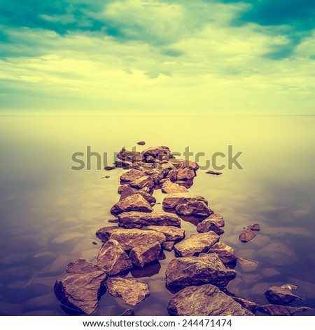 Minimalist misty landscape. - stock photo