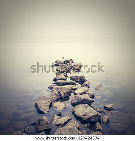 Minimalist misty landscape. Ukraine. - stock photo