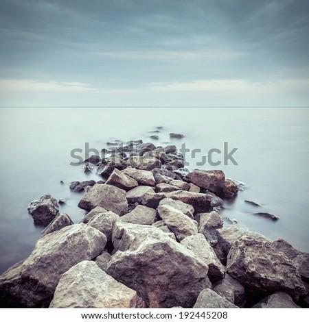 Minimalist misty landscape. Ukraine. - stock photo