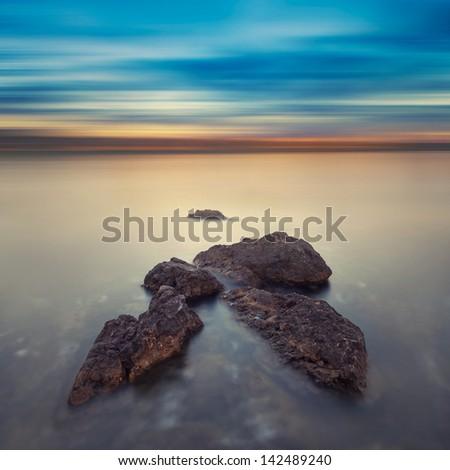 Minimalist misty seascape. - stock photo