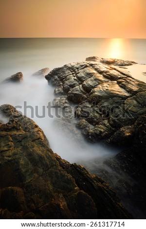 Minimalist misty seascape with long exposure - stock photo