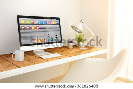 minimalist modern studio with computer and copyspace. 3d illustration. all screen graphics are made up. - stock photo