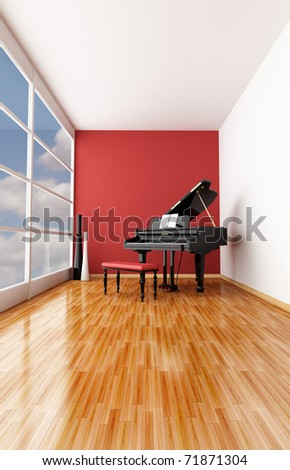 minimalist music room with black grand piano