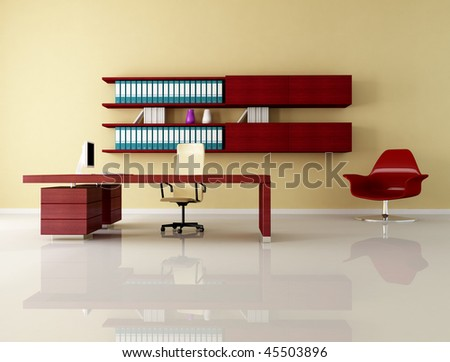 minimalist office space with elegant desk - rendering - stock photo
