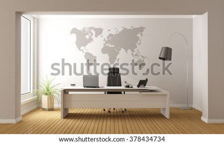 Minimalist office with desk and world map on wall - 3D Rendering - stock photo