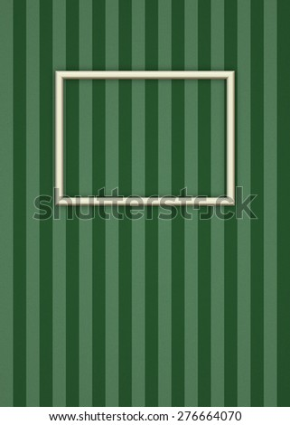 Minimalist Picture Frame Over Stripped Wallpaper Bitmap Illustration (frame has clipping path) - stock photo