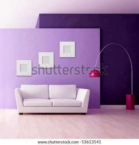 minimalist purple interior with white couch - rendering - stock photo