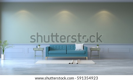 Minimalist room interior,blue sofa on wood flooring and  green wall  /3d render