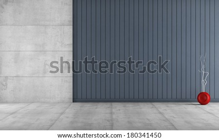 Minimalist room without furniture with concrete panel and blue wooden slats - rendering - stock photo