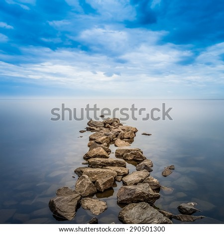 Minimalist Seascape. Coastal Sunrise. - stock photo