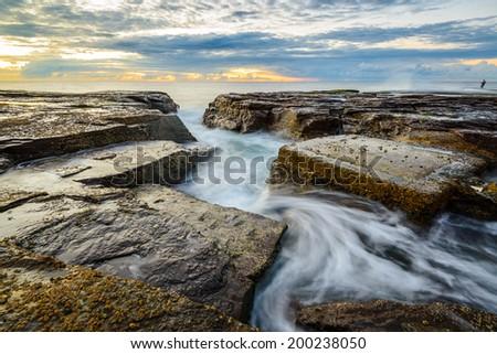 Minimalist Seascape. Narabeen coastal Sunrise. Australia - stock photo