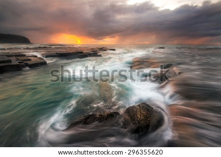 Minimalist Seascape. Turimetta coastal Sunrise. Australia - stock photo
