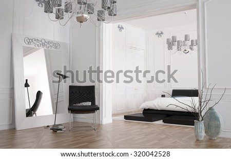 Minimalist spacious bedroom interior with large mirror standing against the wall reflecting the room and a double bed in a recessed alcove, chandelier and parquet floor. 3d rendering. - stock photo