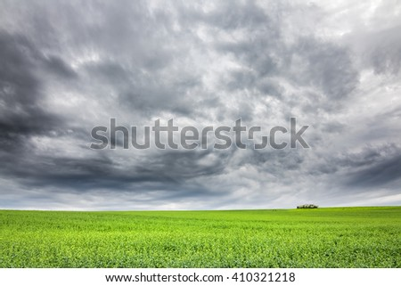 Minimalist spring landscape with green field and very dramatic cloudy sky - natural background - stock photo