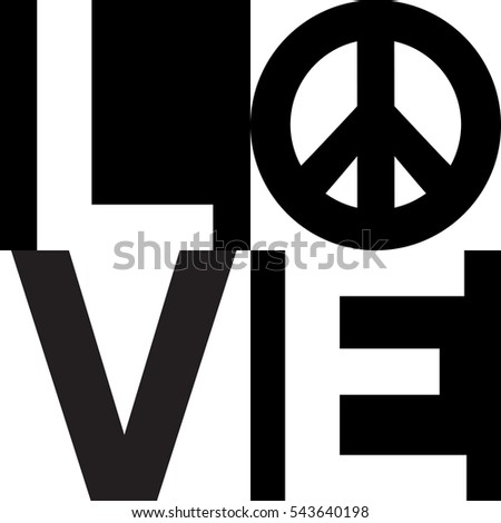 Minimalist text design of love with a peace symbol.in black and white.