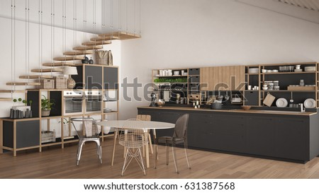 Minimalist white and gray wooden kitchen, loft with stairs, classic scandinavian interior design, 3d illustration