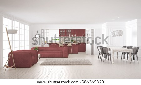 Minimalist white and red living and kitchen, scandinavian classic interior design, 3d illustration