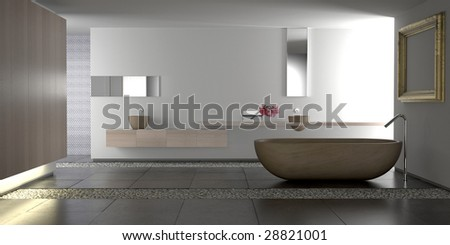 Minimalist white bathroom with stone bathtub and pebbles (3D render)