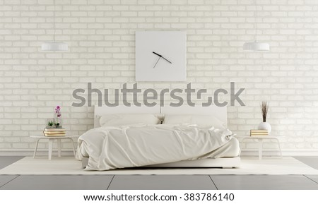 Minimalist white bedroom with double bed and brick wall - 3D Rendering - stock photo