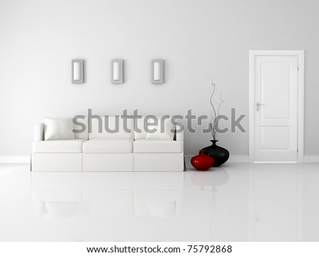 minimalist white interior with elegant sofa and door - rendering - stock photo