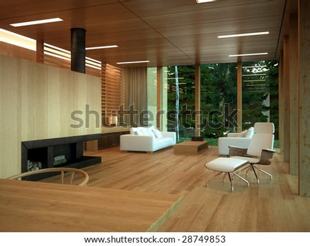 Minimalist wood-paneled lounge in private home (3D render)