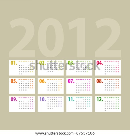 minimalistic 2012 calendar design - week starts with monday - stock photo
