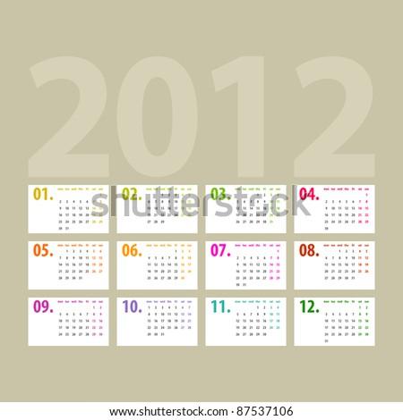 minimalistic 2012 calendar design - week starts with monday - stock photo