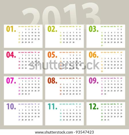 minimalistic 2013 calendar design - week starts with sunday - stock photo