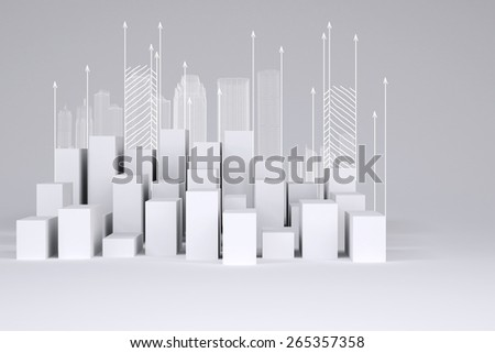 Minimalistic city of white cubes with wire-frame buildings and arrows up on gray background. Concept of urban construction - stock photo