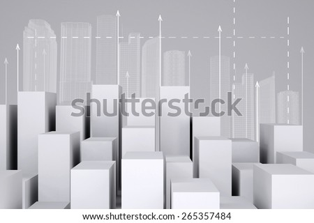 Minimalistic city of white cubes with wire-frame buildings and arrows up on gray background. Cropped image. Concept of urban construction - stock photo