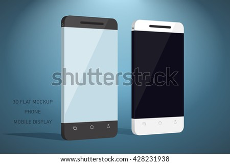 Minimalistic 3d flat illustration of mobile phone. perspective view. Mockup generic smartphone. Template for infographics or presentation UI design - stock photo