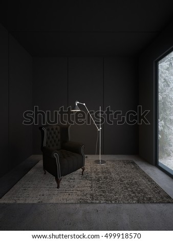 Minimalistic 3d interior in dark colors.