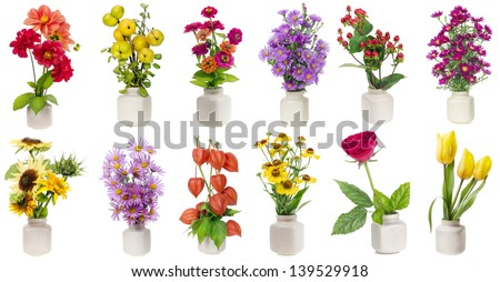 Minimalistic  floral bouquets  in  ceramic pots  set on white background. Full-size of all images you can find in my portfolio - stock photo