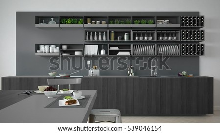 Minimalistic gray kitchen with wooden and gray details, vegetarian breakfast, minimal interior design, 3d illustration