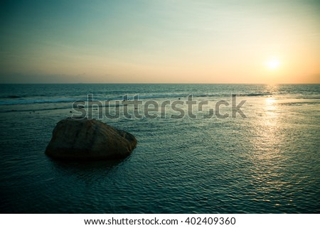 Minimalistic Landscape. Sea coast of Sri Lanka. The serenity and tranquility, harmony loneliness. Photos with the effect of toning - stock photo