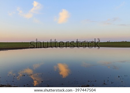 Minimalistic landscape with reflection of clouds and trees in water - stock photo