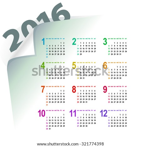minimalistic light multicolor 2016 calendar design - week starts with sunday - stock photo