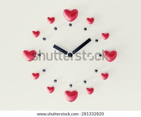 Minimalistic love clock. - stock photo