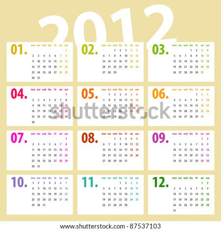 minimalistic, multicolor lines 2012 calendar design - week starts with monday - stock photo