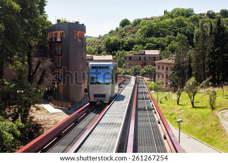 Minimetro Railway Perugia, is a type of Finicular railway operating on rail but with a traction rope - stock photo