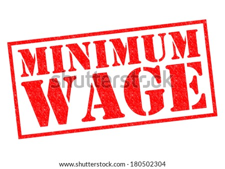 MINIMUM WAGE red Rubber Stamp over a white background. - stock photo