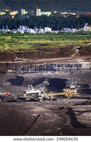 Mining before town - stock photo
