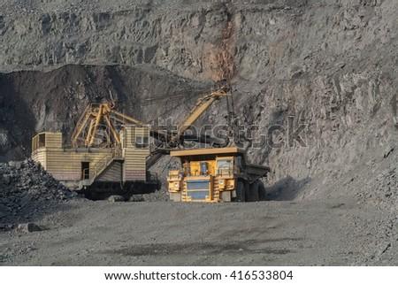 mining industry mining. dangerous production - stock photo