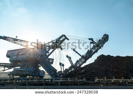 Mining machinery in the mine closeup - stock photo